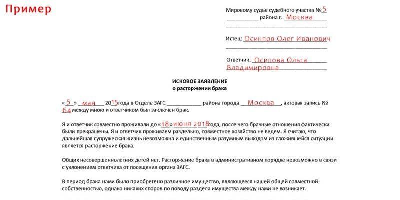 Пример заполнения искового заявления